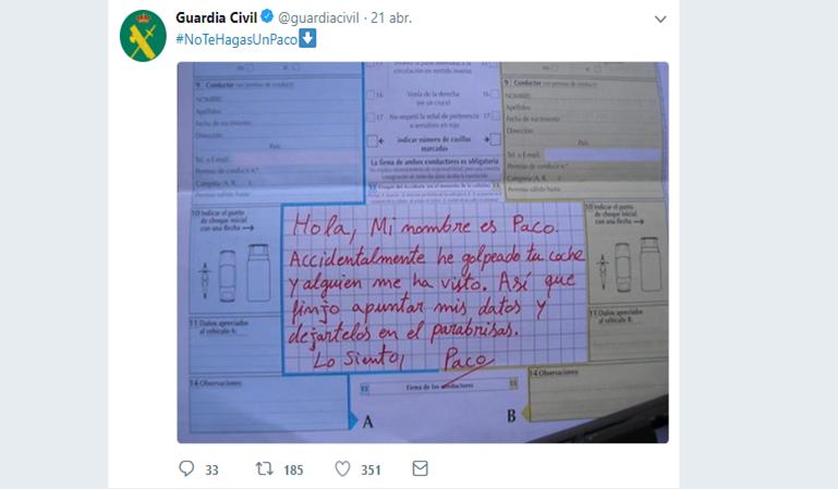 La Guardia Civil dice qué no hacer si tienes un accidente