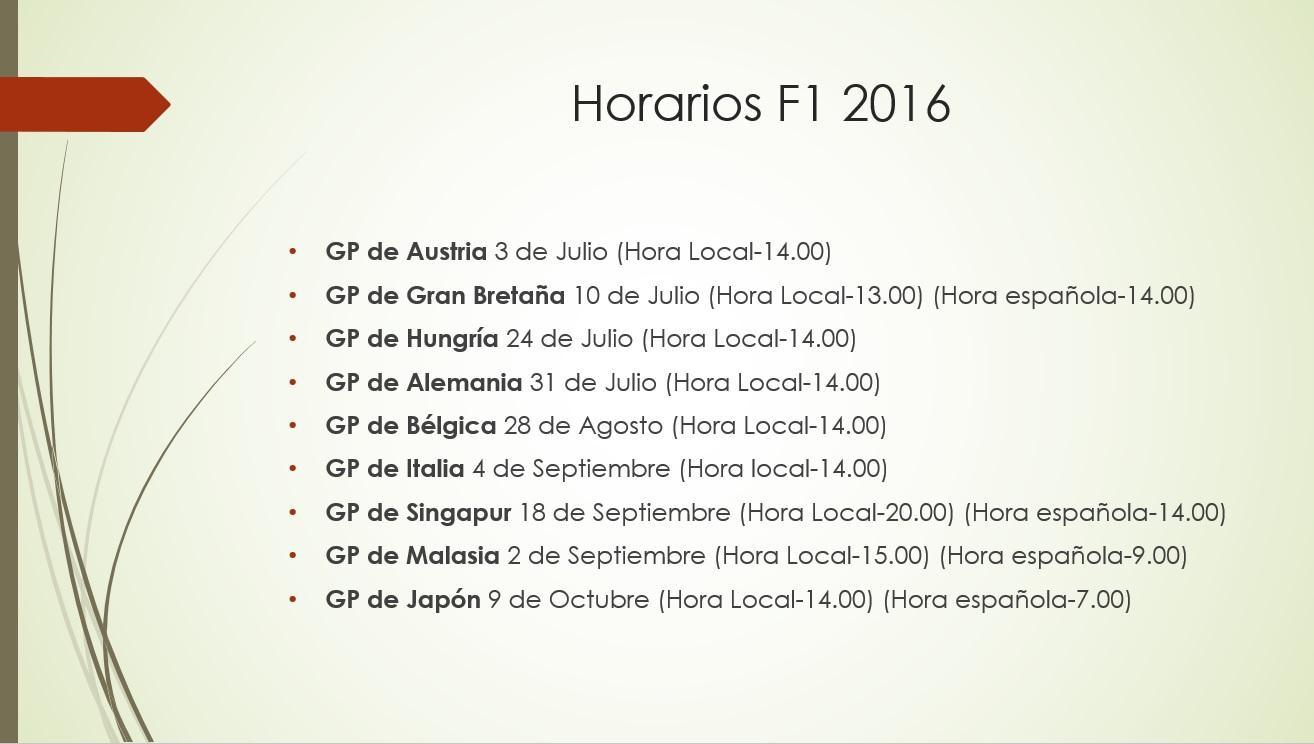 Horarios F1 2016 II